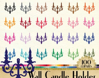 100 Vintage Wall Candle Holder Clipart, 100 Candle Clipart, 100 PNG Clipart, Planner Clipart, Instant Download Clipart, Wall Candle Clipart