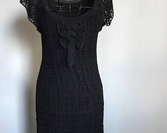 Vintage size 12 black crochet dress