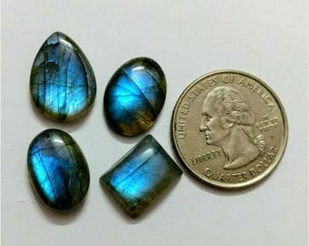 4 Pcs Lot ,Mix Shape Labradorite /Attractive Blue Flash Labradorite/wire wrap stone/Super Shiny/Pendant Cabochon/Labradorite Cabochon lot