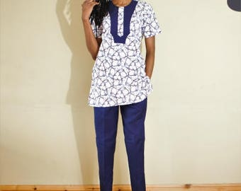 FOLKSHELF African Print Senator Set of Top & Trouser