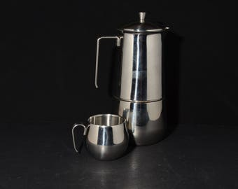 Italian, Stovetop, Gnutti Espresso Maker and Cup, Acciaio Inox 18/10, 6 cup size Espresso, Moka Pot, stainless steel, Goldcrest exclusive