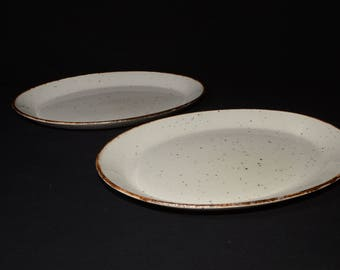 "RESERVED J & G Meakin, Lifestyle, serving plate, 12"", England, Set of 2, off-white speckled in brown, vintage, pottery, c.1970s, farmhouse"
