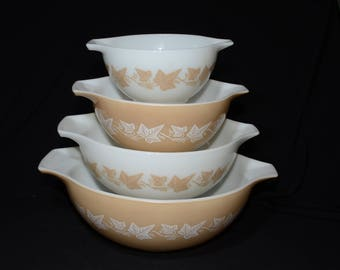 PYREX, Sandalwood, Cinderella, Nesting bowls, 441, 442, 443, 444, Vintage Pyrex Mixing Bowls, 1960s, full set, Set of 4, nesting bowls, rare