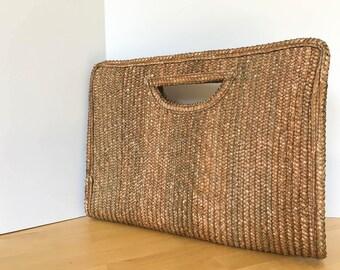 Vintage Woven Clutch, Woven Clutch, Vintage Clutch, Woven Bag, Vintage Purse, Straw Clutch, Straw Bag, Rattan Bag