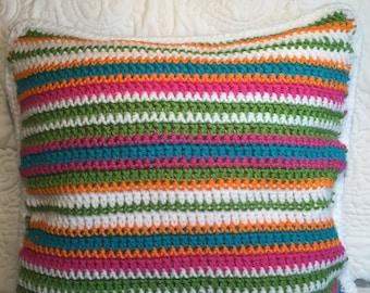 Crocheted Summer Stripe Pillow
