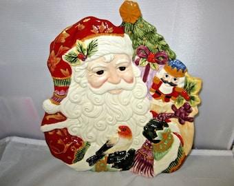 "Fitz & Floyd Regal Holiday 10"" Santa Canapé Plate Server Dish"