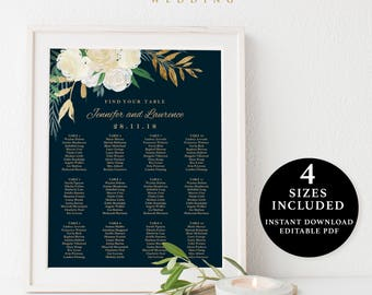 Flower Seating Chart Template, 16x20, 18x24, 20x30, 24x36, Instant Download Printable, Editable PDF, EWSC018