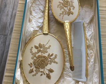 Vintage Embroidered Dresser/Vanity Set Hairbrush, Mirror & Comb - Birks Box MADE IN ENGLAND As New