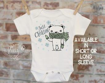 Polar Bear Onesie®, Just Chillin' Winter Onesie, Funny Onesie, Cute Baby Bodysuit, Cute Onesie, Boho Baby Onesie, Funny Onesie - 252J