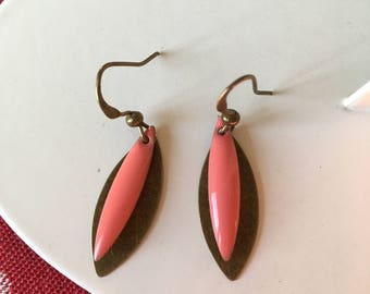 Earrings pink and bronze sequins