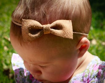 Suede Bow with Nude colored Headband - Baby Gift - Baby girl - Baby Shower -Baby Bow - Baby Headband