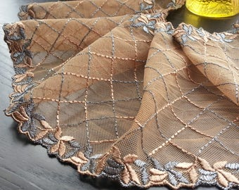 1yd (0.91m) of Embroidered Tulle Lace- Brown with diamond pattern - 13cm (5.1inch) Wide,RL_EM003