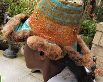 Stylish, Beautiful, Tibetian, Antique, Vintage Tribal Hat--one of a kind