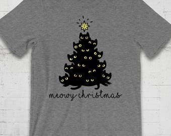 Meowy Christmas Shirt, Cat Christmas Shirt, Merry Christmas TShirt, Merry Christmas Shirt, Cat Lover Gift, Cat Lover Shirt, Funny Cat Shirt