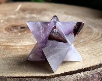 Amethyst Crystal Merkaba Star ! Sacred Geometry !