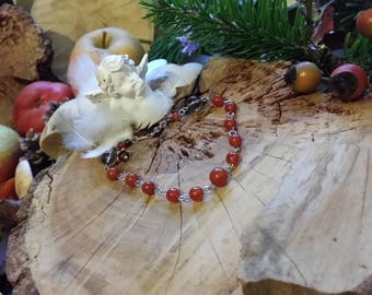 Carnelian, smoky quartz and silver bracelet Sterling and 925 by AngelS SignS