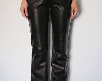 1990's Black Leather Pants