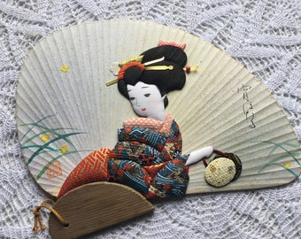 "Hiro's HANDCRAFTED ART FAN 48 ""Yoi botaru"" 12"" × 8""     押し絵 宵ぼたる"