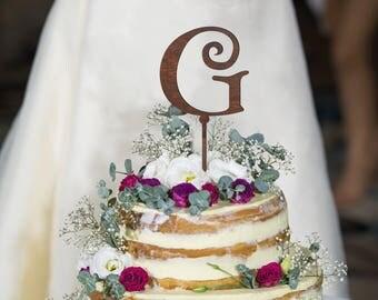 Letter G cake topper, Wedding Cake Topper, Unique Cake Topper, Monogram Cake Topper, Initials Cake Topper Single Letter, Personalised Topper