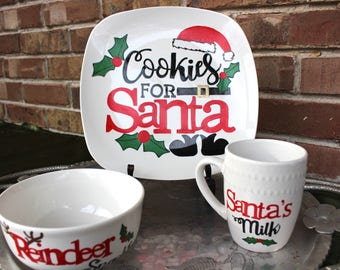 Cookies for Santa Plate Set - Milk For Santa Mug - Hand Painted Christmas Plate - Personalized Plates