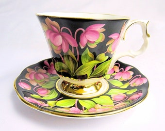 Vintage Royal Albert, Bone China England, Provincial Flowers, ''Pitcher Plant'' Porcelain Cup and Saucer with Flower Decor from 1975