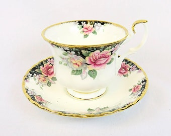 Vintage Royal Albert, Bone China England, ''Concerto'' Porcelain Cup and Saucer from 1991, Man Size