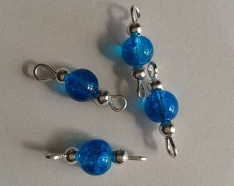 5 connectors 6mm blue Crackle glass beads