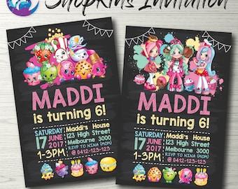 Shopkins Blackboard Invitation, Shopkins Birthday Invitation, Shopkins Party Invitation, Shopkins Invite Shopkins Party Printable Chalkboard