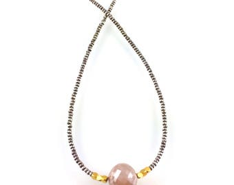 Moonstone Beaded Necklace with Karen Hill Tribe Silver, Great Bridesmaid Gift or Perfect for Boho Bridal Jewelry, Boutique Style Jewelry