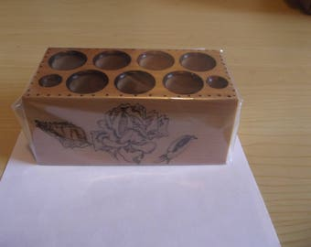 Wooden make-up pot - Rose & Bud design