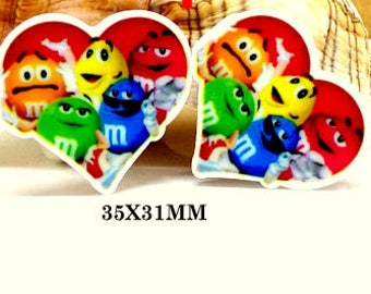 4 pcs. M&Ms HEART Planar resin, hair bow center, scrapbooking, general crafts 35 X 31mm