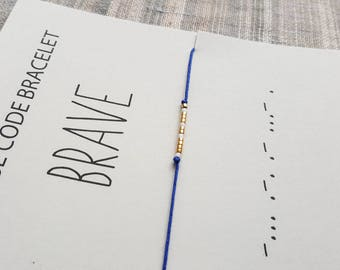 BRAVE - Morse code bracelet - Gift jewelry - Gift - Friendship Bracelet - Minimalist bracelet