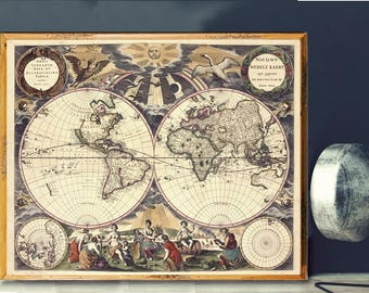 Renaissance Map Etsy - High quality world map poster