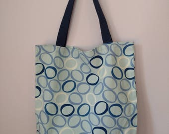 Medium Canvas Tote Bag - Blue Circles Pattern