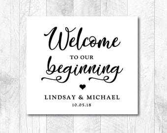 Customizable Wedding SVG, Welcome To Our Beginning Customized, DIY Wedding SVG, Welcome Wedding svg, Sign, Vinyl, Cut File, Print, Stencil