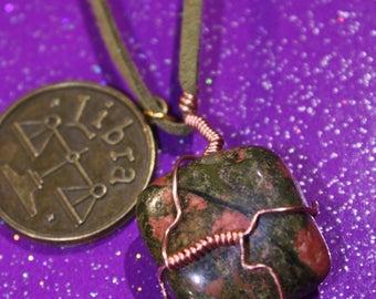 Unakite Tumblestone Libra Zodiac Charm Faux Suede Handmade Copper Wrapped Slip Knot Vegan Necklace