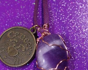 Chevron Amethyst Tumblestone Cancer Zodiac Charm Faux Suede Handmade Copper Wrapped Slip Knot Vegan Necklace