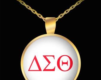 DELTA SIGMA THETA Sorority Gold Pendant Necklace