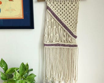 Macrame/Macraweave Wall Hanging with Purple Yarn, Medium Woven Wall Hanging, Tapestry, Hippie Tapestry Wall Hanging
