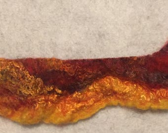 Handmade wet felted bracelet with button closure