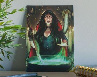 Halloween poster, witch illustration poster, illustration fantasy witch, magic art halloween, magical gift cauldron, decor art print gift