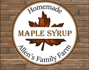 Personalized Canning Jar Labels - Maple Syrup Labels - Mason Jar Labels - Homemade Maple Syrup   Style 1