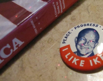 Vintage Political Campaign Button made by Kleenex Tissues in 1968 I LIKE IKE!