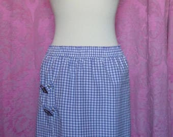 Skirt asymmetric wrap in Lavender gingham with two metal buckle