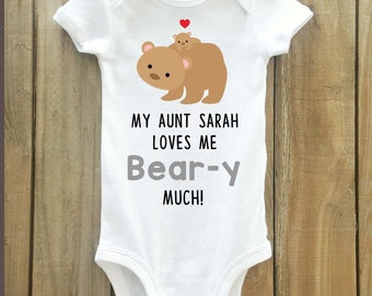 Aunt gift for baby, bear baby shirt, baby shower gifts, Aunt shirt for baby, aunt gift, auntie shirt, i love my auntie, cute bear shirt