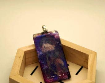 Galaxy Glass pendant Necklace- Blue / purple