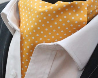 Cravat Ascot UK Made Yellow Polka Dot. Cravat & Hanky.Premium Cotton.