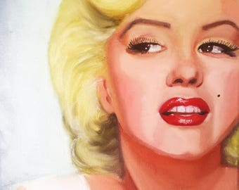 Marilyn Monroe wall art Marilyn canvas Custom oil painting Child oil portrait Christmas surprise Anniversary unique picture Free shipping