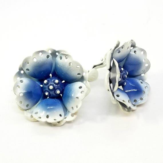 Vintage Blue and White Enameled 1960s 'Flower Power' Earrings