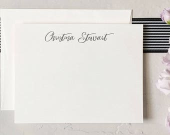 Simple Personalized Stationery - Custom Flat Notecard Set - Stationery for Her [Q118-001]